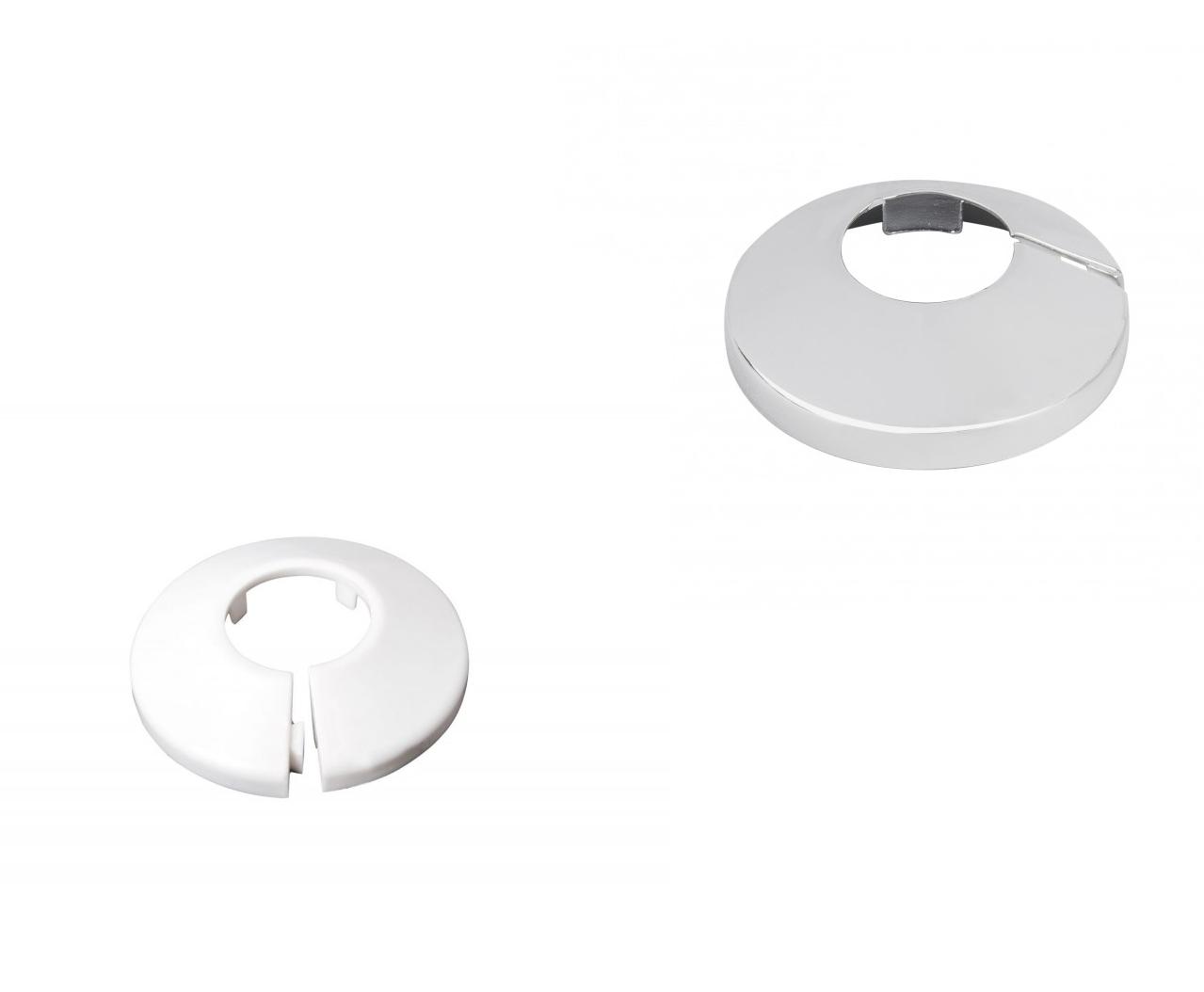 Abdeckrosette Klapprosette Einzeln 15 16 18 20 22 25 28 mm Heizkörper Weiß chrom