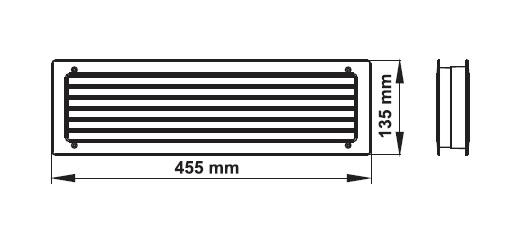Lüftungsgitter Badezimmer Türlüfte Türlüftung 455 X 135 Mm